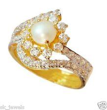 1.14ct ROUND DIAMOND 14K YELLOW GOLD PEARL RING / WORLDWIDE FREE SHIPMENT