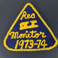 Vintage Ice Skating Rec Monitor 1973 1974 Patch Blue Gold Rectangle Skates
