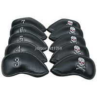 10Pcs Black Skull Pu Leather Golf Club Iron Head Covers For Taylormade Titleist