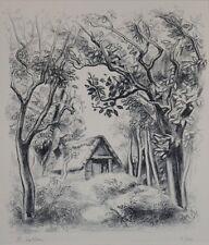 """Lithographie de R.LOTIRON """"La chaumière"""" signée au crayon, 2/30"""