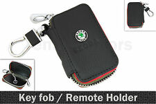 Black Leather Key Ring Remote Zipper Cover Case Holder for SKODA Octavia Fabia