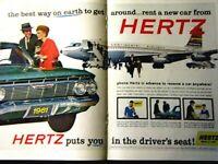 "1961 Chevrolet Impala Green Hertz  2 Page Original Print Ad 8.5 x 11"""