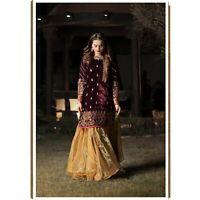 Maria B. Original Evening Wear Golden Black Shalwar Kameez Dupatta Size M