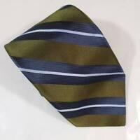 "IKE Behar Mens Necktie Green Blue White Striped 100% Silk Classic 59"" L 3.75"" W"