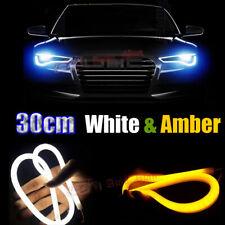 2x 30cm White Amber Car Motorcycle Headlight Angel Eyes Flexible LED Strip Light
