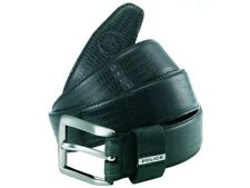 NEW RRP £50 Police POMAA8-0402CL P Keeper Black Leather Silver Buckle Belt L