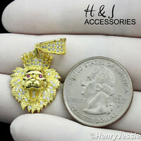 925 STERLING SILVER ICED OUT BLING SMALL LION KING HEAD CROWN GOLD PENDANT*GP122