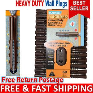 7mm Plasplugs Wall Plugs, Heavy Duty Concrete & Brick Fixing Brown Rawl Plugs