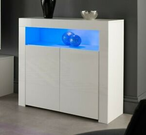White Gloss Matt Sideboard Cabinet Buffet Kitchen Dining Cupboard with LED light