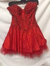 Red Sequence Dance Recital Costume Theater Dress EUC Size 6 Women's