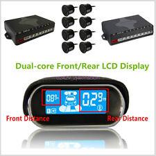 8 Black Parking Sensor Dual-core Double LCD Display Car Reverse Radar Alarm Kit