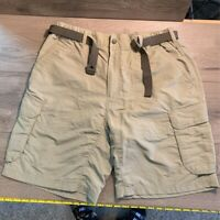 REI Mens Cargo Shorts Khaki Nylon Flat Front Belted Mid Length Zip Casual L