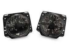 "E-Code Crosshair Smoke 7"" Round Glass Headlight Pair For 85-92 VW Golf Mk2 Mk.ll"