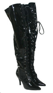 LADIES 4 INCH THIGH HIGH BLACK PATENT BOOT LACE UP / INSIDE ZIP SIZES UK 4 x 8