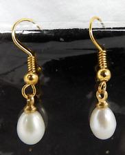 White Japanese Cultured Pearl Drop Earrings