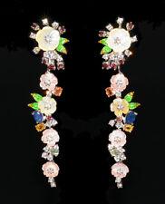 925 Silber Ohrringe* 61x14 mm* Weißgold beschichtet Perlmuttblumen Saphir Garnet