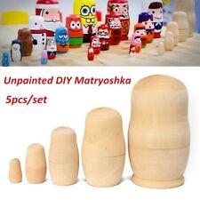 5PC Unpainted Blank DIY Embryo Russian Nesting Dolls Matryoshka Baby To L