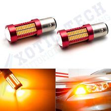 2x 80W 1157 BAY15D 3000K Amber Turn Signal Parking Corner Light Lamp LED Bulbs
