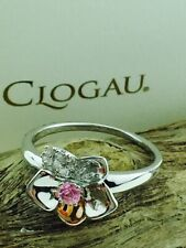 Clogau Gold Sterling Silver & 9ct Rose Gold Sapphire Orchid ring -  Size Q £169