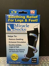 Miracle Socks Ant-fatigue Compression Socks. Unisex. Size S/M. Black. Open Box