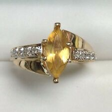 Estate Golden Marquise Cut Citrine & Diamond Ring 10K Yellow Gold Size 6