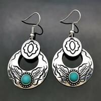Vintage Silver Turquoise Earrings Ear Hook Dangle Woman Wedding Jewelry Gift