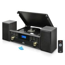 NEW Pyle PPTCM80BTGR Vintage Style Bluetooth Turntable System w/ MP3 Recording