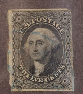 Scott 17 - 12 Cents Washington - Used - Blue Cancel - SCV - $250.00