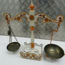 More details for vintage taunton vale floral weighing balancing kitchen scales + weights / retro