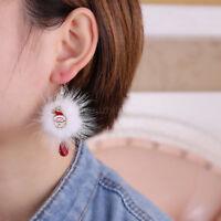 Deer Gift Pompon Christmas Santa Claus Dangle Earrings Earrings Drop Earrings