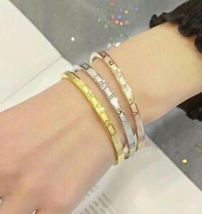 Roman Numeral Titanium Stainless Steel Bracelet Bangle Silver Gold Men Women *UK