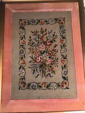 """Huge Vintage Needlepoint """"Floral Theme"""" - Framed"""