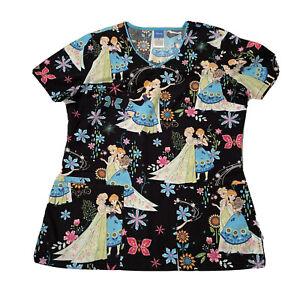 Disney Frozen Scrub Top Womens Size Small Elsa & Anna V Neck 3 Pockets Preowned