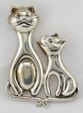 Artisan Hand Crafted Sterling Silver 925 Mother Cat & Kitten Brooch Pin 7.2 gm