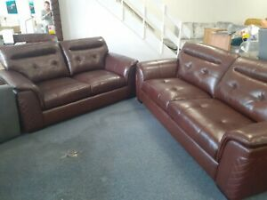 Teigen Maxi 3 seater and Midi 2 seater brown Leather suite. Ex ScS stock