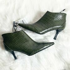 BNIB ZARA GREEN FAUX CROCODILE ANKLE BOOTS UK 4 EU37 US7
