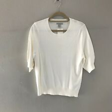 H&M Ladies Fine Knit Jumper Natural White Short Sleeve Size M Natural White NWT