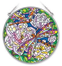 """Mosaic Dragonfly Sun Catcher Amia Hand Painted Glass 6.5"""" New Round Magnolia"""