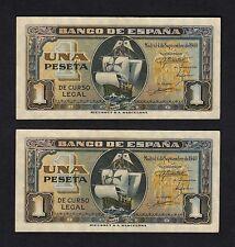 F.C. PAREJA CORRELATIVA 1 PESETA SEPTIEMBRE 1940 , SERIE G , S/C- .