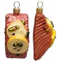 Slice of Salmon with Lemon Polish Glass Christmas Ornament Set of 2 Decorations