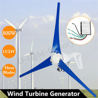 800W Wind Turbine Generator DC 12V-24V 3 Blades Controller Regulator Home Power
