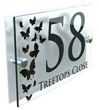 Butterflies Classic Style Custom House Door Number Sign Plaque Acrylic