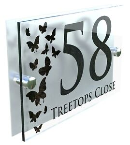 Butterflies Classic Style Custom House Door Number Sign Plaque Acrylic