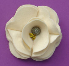 Hand Crafted Cream Felt Camellia Corsage With Cute Bumble Bee: Designer Label
