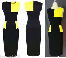 Women Optical Illusion Colorblock Fitted Bodycon casual wear work Pencil Dress M