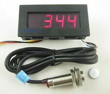 4 Digital Red LED Tachometer RPM Speed Meter+Hall Proximity Switch Sensor NPN