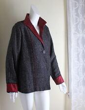 Barbara Perry M L Elegant Red Black Silk Handwoven Fiber Artist Jacket +Scarf