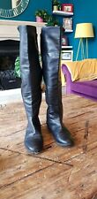 Nine West Negro Cuero medio mitad de tela elástico rodilla botas talla 8