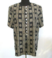 DIO Petite Womens Sz12 Black Ikat Design Top Exotic Shell Buttons S/S VGC