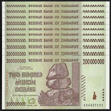 ZIMBABWE 200 Million Dollars X 10 PCS AA 2008 P-81 1/10 Bundle UNC Uncirculated